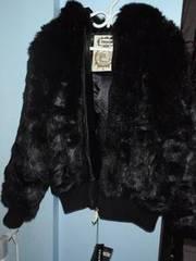 ABLANCHE Black Faux/Fake Reversible Fur Bomber Jacket/Coat XL