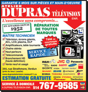 TV LCD Plasma dlp Lamp Service & Repair Center Dupras Television