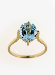 10 K Gold Blue Topaz Ring Size 6,  7,  8,  9 Available